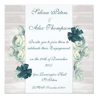 Floral Teal Engagement Invitation