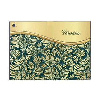 Floral Teal Gold Folio iPad Mini Case
