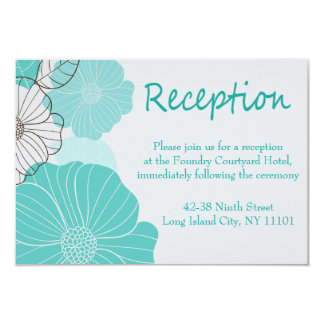 Floral Teal Turquoise Reception Wedding Party Card