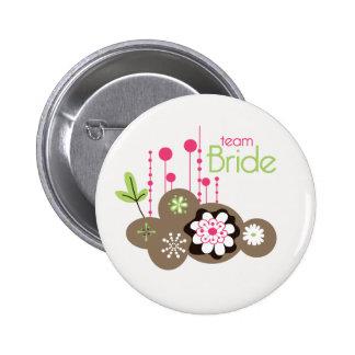 Floral Team Bride 2 Inch Round Button
