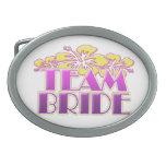 Floral Team Bride Bridesmaids wedding classy fun Oval Belt Buckle