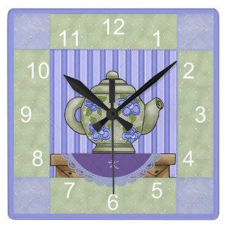 Floral Teapot Quilt Block Clock