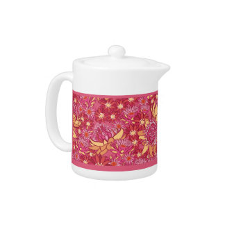 Floral Teapot - Small Daisy Pink, Red & Orange
