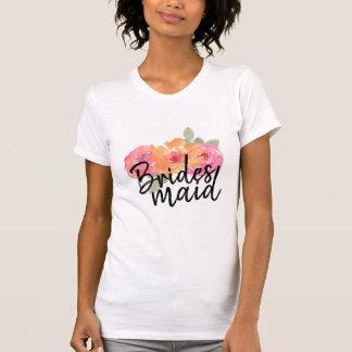 Floral tee shirt wedding bridesmaid gift