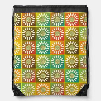 Floral tessellation drawstring backpack