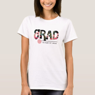 Floral Text design custom Graduation T-Shirts