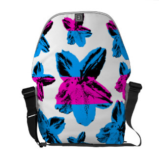 Floral texture: Blue pink pop-art flowers on white Courier Bag