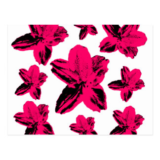 Floral texture: pink tropical flowers over white postcard