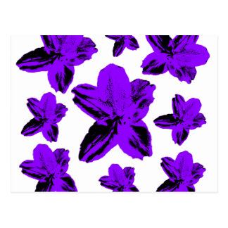 Floral texture: purple flowers over white postcard