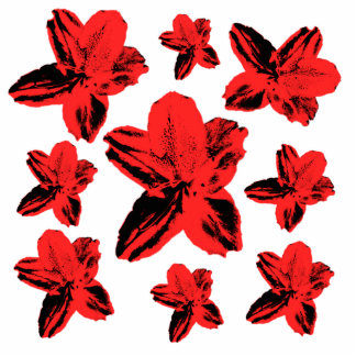 Floral texture: red flowers over white cutout