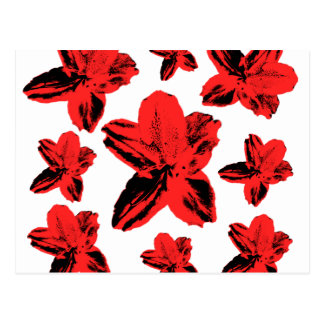 Floral texture: red flowers over white postcard