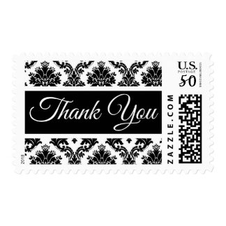 Floral Thank you Black And White Damask Postage