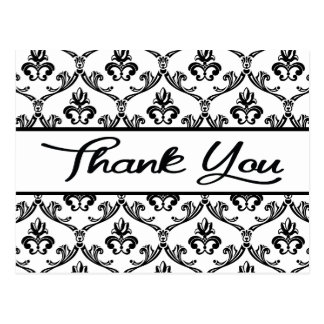 Floral Thank You Black And White Damask Postcard