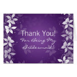 Floral Thank You Bridesmaid Exotic Blooms Purple Cards
