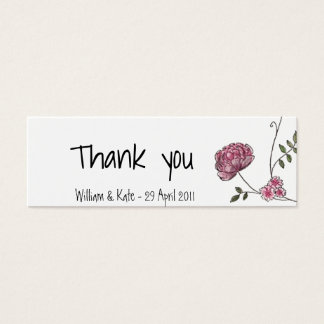 Floral thank you card for wedding favours