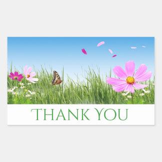 Floral Thank You Daisy Flowers, Blue Rectangular Sticker
