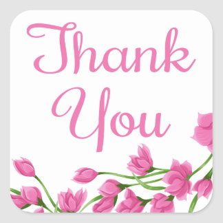 Floral Thank You Fuchsia Pink Flowers Square Sticker