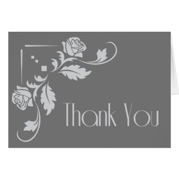 Professional Business Floral Thank You Gray Rose Flower Blank Card