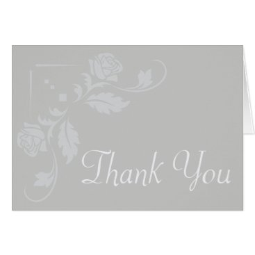 Professional Business Floral Thank You Gray Rose Flower Blank Notecard