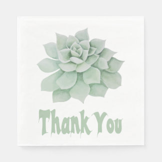 Floral Thank You Green Succulent Cactus Paper Napkin