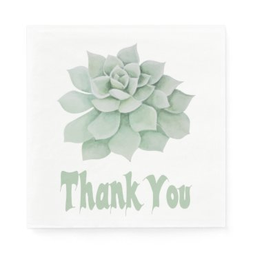 Professional Business Floral Thank You Green Succulent Cactus Paper Napkin
