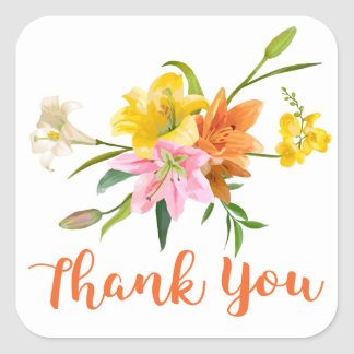 Floral Thank You Lily Flowers - Orange Pink Yellow Square Sticker