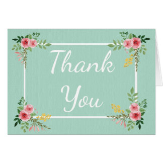 Floral Thank You Mint Green Pink Rose Flowers Card