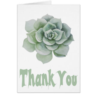 Floral Thank You Mint Green Succulent Watercolor Card