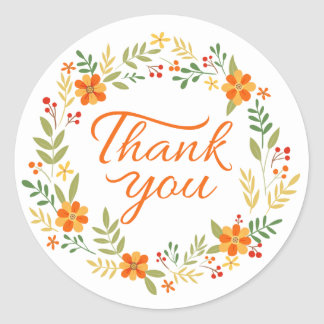 Floral Thank You Orange And Green Flowers Classic Round Sticker