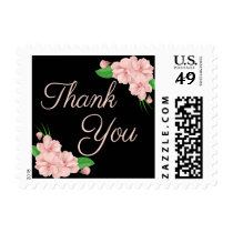 Floral Thank You Pink & Black Flowers Postage