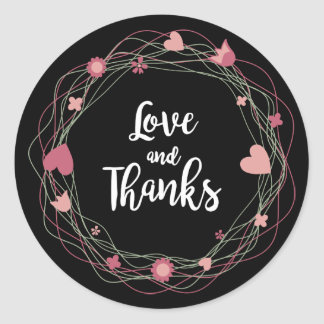 Floral Thank You Pink, Black Wreath Hearts Flowers Classic Round Sticker