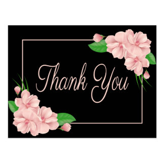 Floral Thank You Pink Flowers Black Wedding Party Postcard