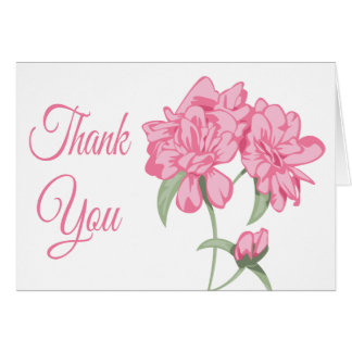Floral Thank You Pink Peony Flower Blank Note Card