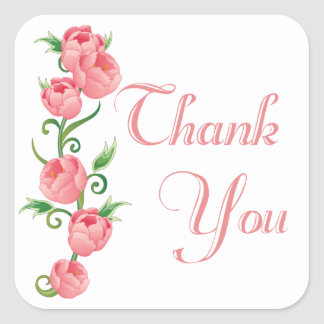 Floral Thank You Pink Rose Flower Sticker / Seal