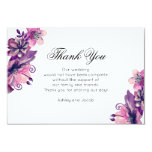 Floral thank you. Purple wedding. Flowers note Card