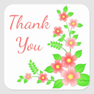 Floral Thank You Red / Pink & Green Flowers Square Sticker
