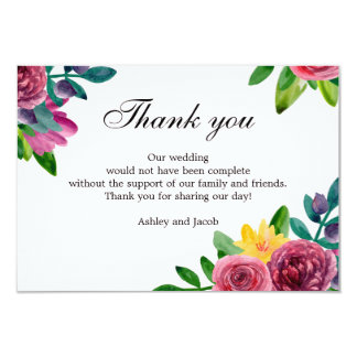 Floral thank you. Watercolor flowers wedding note Card