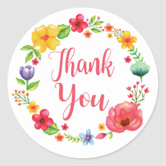 Floral Thank You Watercolor Pink Red Flower Wreath Classic Round Sticker