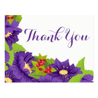Floral Thank You Watercolor Purple Flowers Postcard