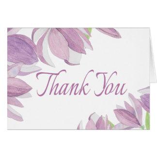 Floral Thank You Watercolor Purple Lavender Flowe Card
