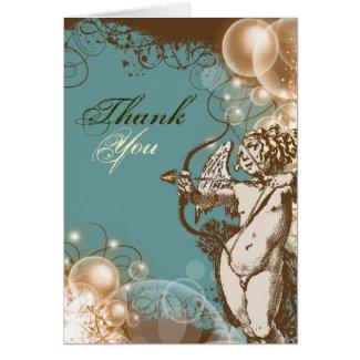 Floral thank you wedding swirls card
