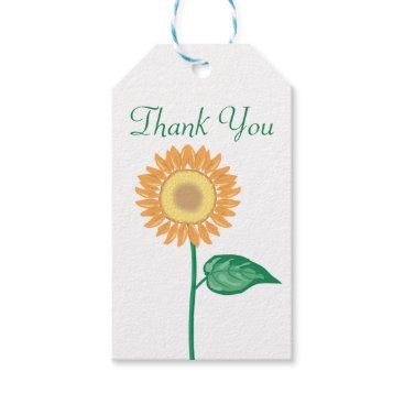 Beach Themed Floral Thank You Yellow Gold Sunflower Wedding Gift Tags