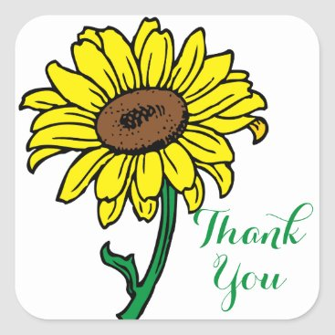 Beach Themed Floral Thank You Yellow Sunflower Green Wedding Square Sticker