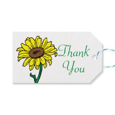 Beach Themed Floral Thank You Yellow  Sunflower Wedding Gift Tags