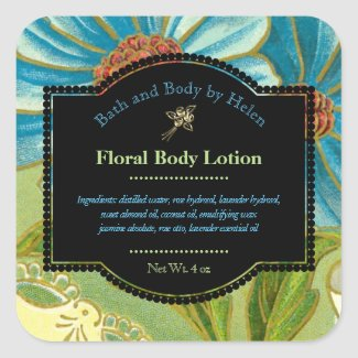 Floral Themed Bath Products Label