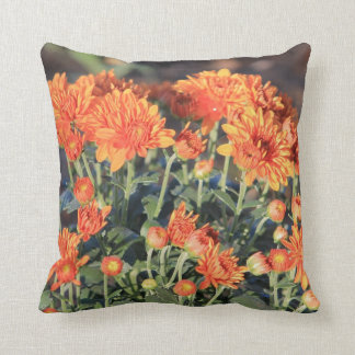 Floral throw pillow featuring fall colored Mums