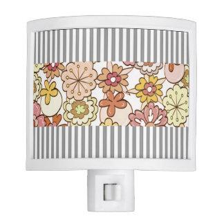 """Floral & Ticking""  Silver-GrayII & White Stripe Night Light"