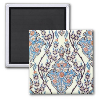 Floral Tile, Turquoise 2 Inch Square Magnet