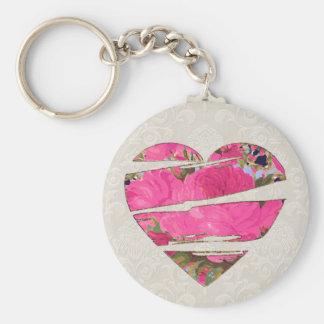 Floral Torn Heart Motif Keychain