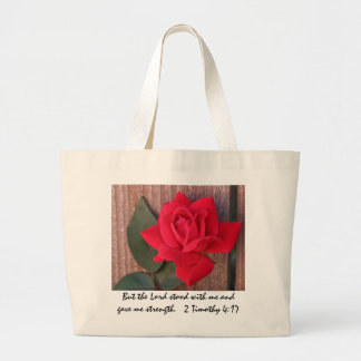 Floral Tote, Red Rose w/ Scripture Verse Large Tote Bag